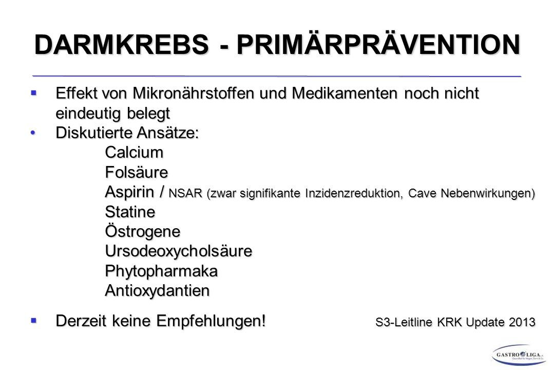 DARMKREBS - PRIMÄRPRÄVENTION