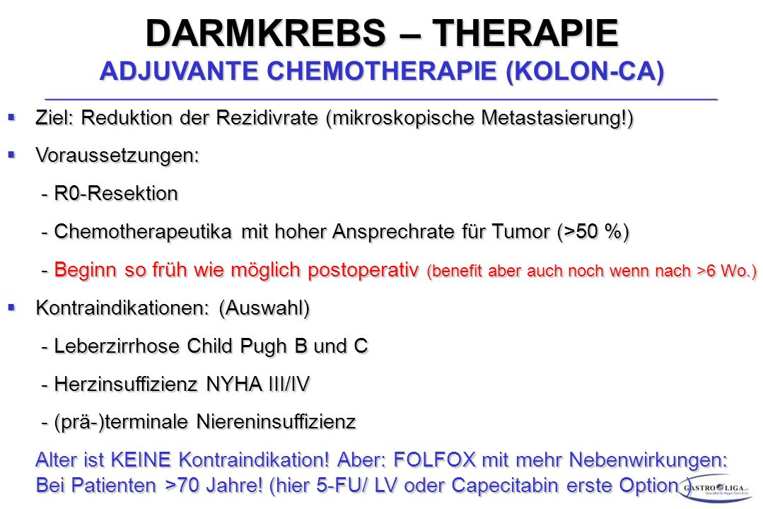 DARMKREBS – THERAPIE ADJUVANTE CHEMOTHERAPIE (KOLON-CA)