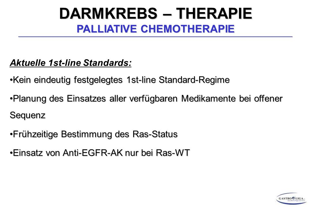 DARMKREBS – THERAPIE PALLIATIVE CHEMOTHERAPIE