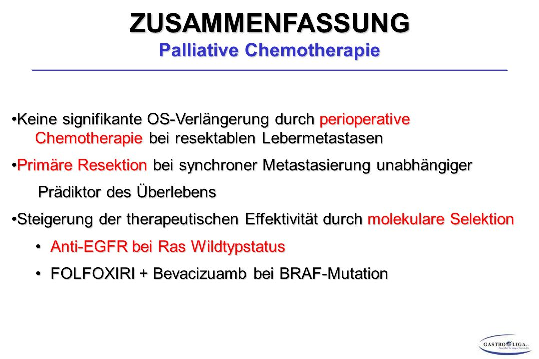 ZUSAMMENFASSUNG Palliative Chemotherapie