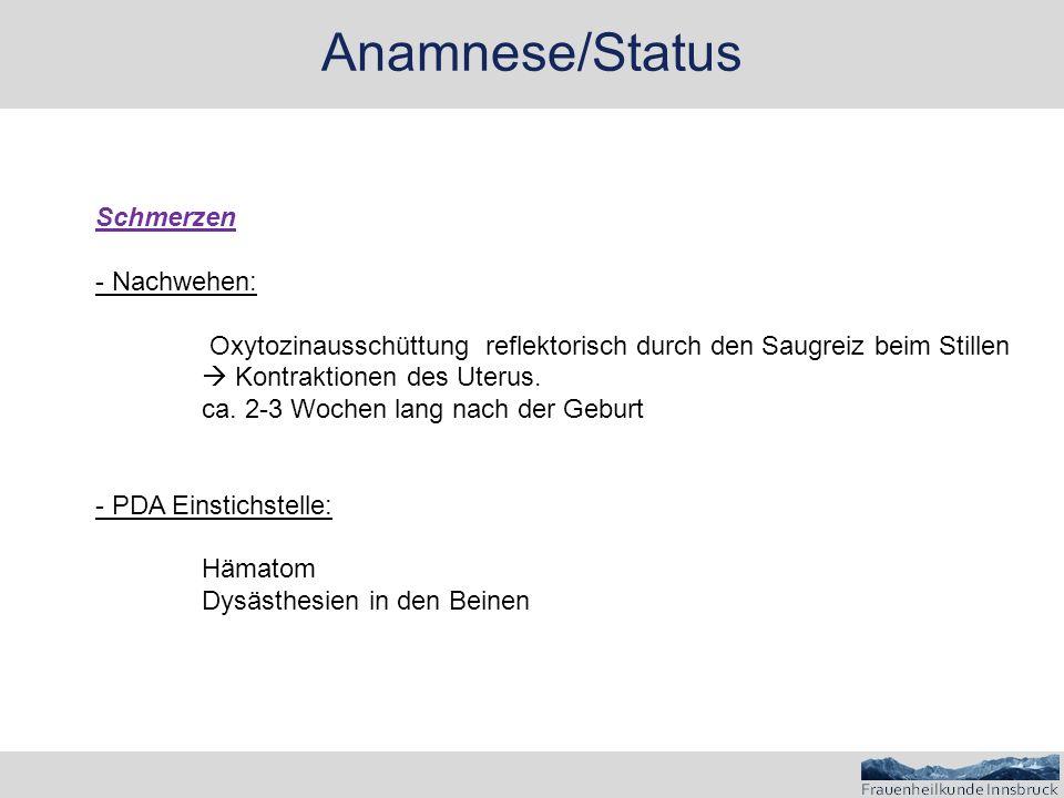 Anamnese/Status Schmerzen - Nachwehen: