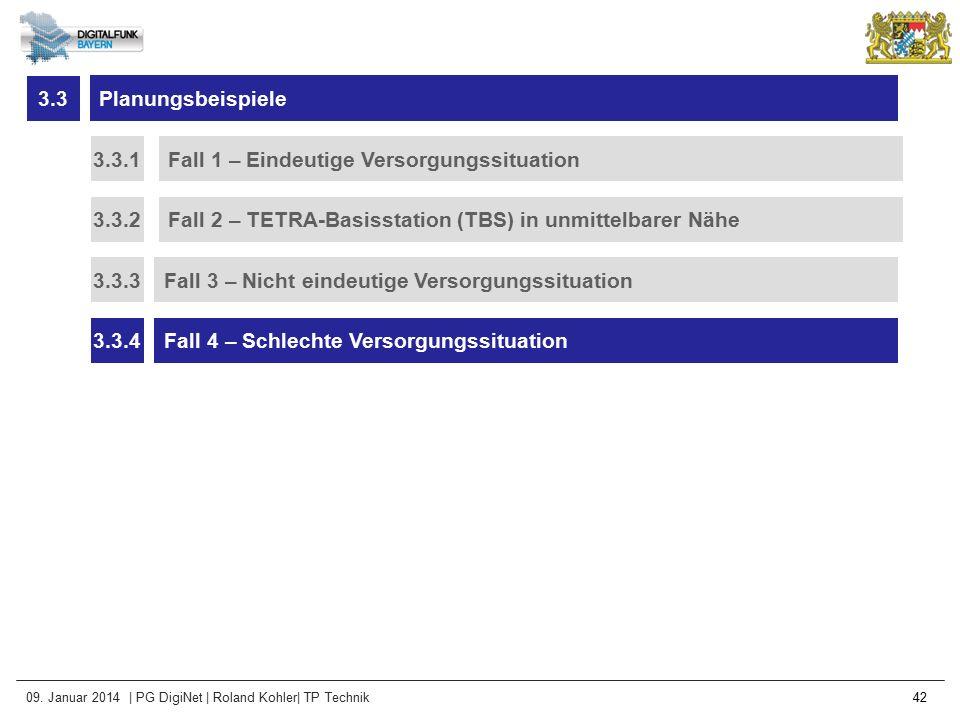 3.3 Planungsbeispiele. 3.3.1. Fall 1 – Eindeutige Versorgungssituation. 3.3.2. Fall 2 – TETRA-Basisstation (TBS) in unmittelbarer Nähe.