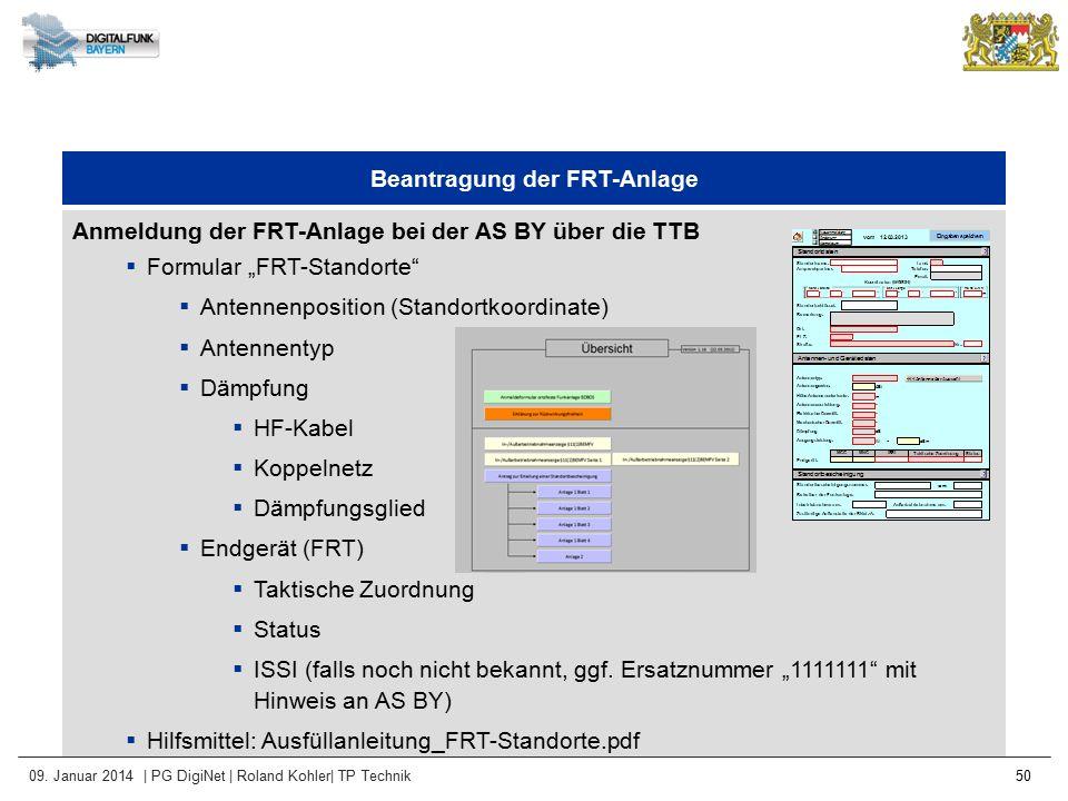Beantragung der FRT-Anlage
