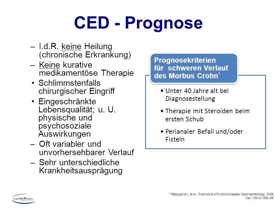 CED - Prognose I.d.R. keine Heilung (chronische Erkrankung)