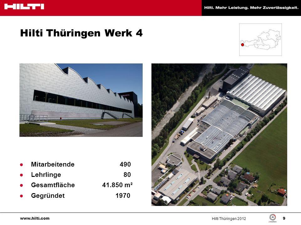 Hilti Thüringen Werk 4 Mitarbeitende 490 Lehrlinge 80