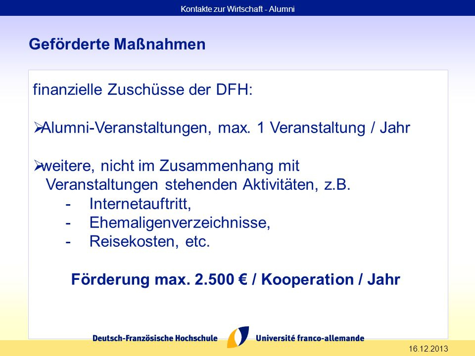 Förderung max. 2.500 € / Kooperation / Jahr