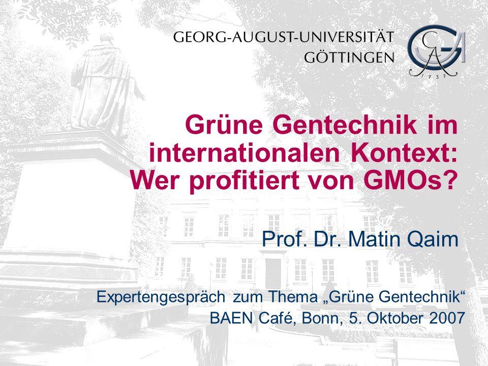 Grüne Gentechnik im internationalen Kontext: Wer profitiert von GMOs