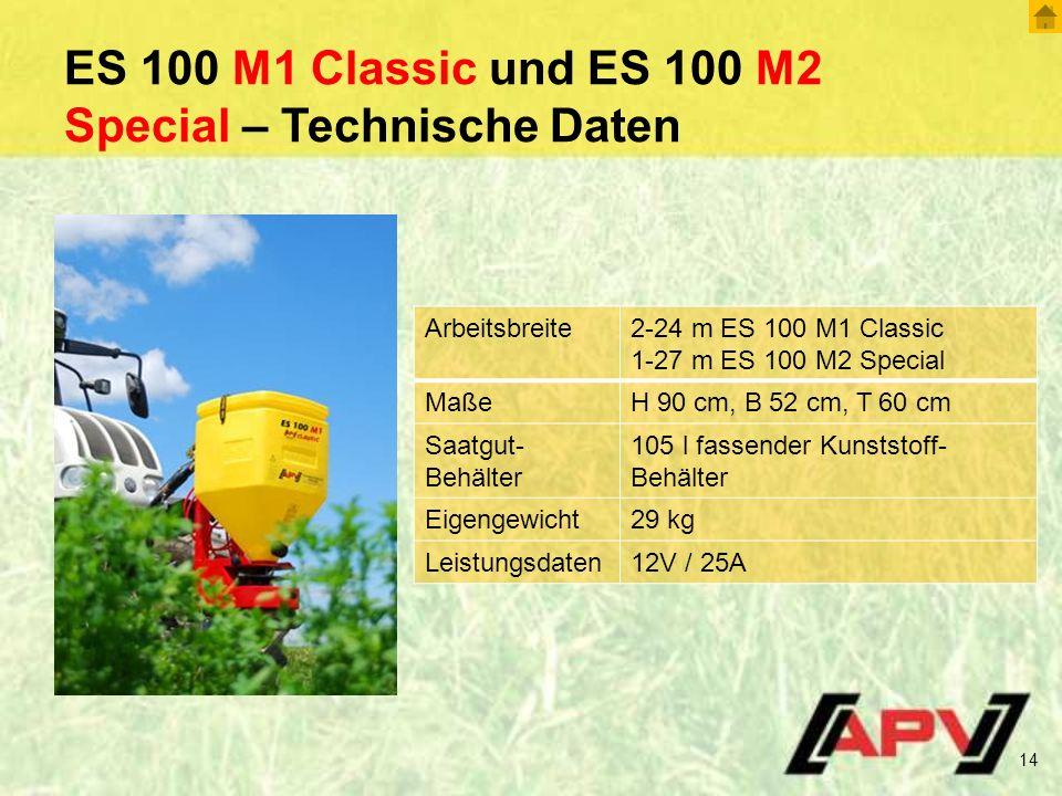 ES 100 M1 Classic und ES 100 M2 Special – Technische Daten