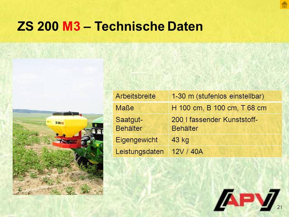 ZS 200 M3 – Technische Daten Arbeitsbreite