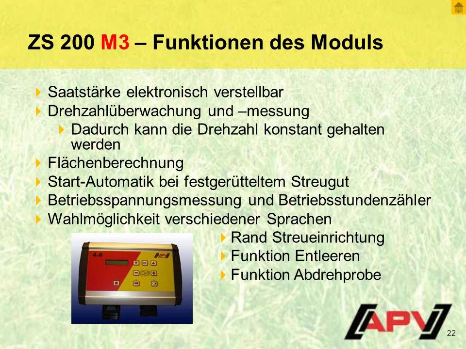 ZS 200 M3 – Funktionen des Moduls