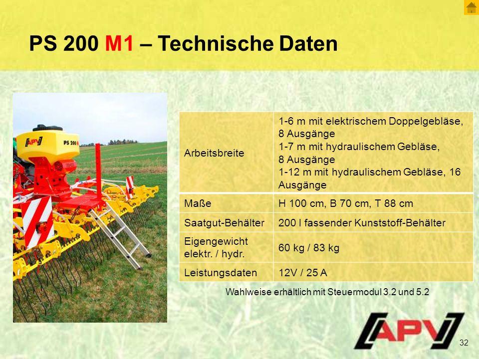PS 200 M1 – Technische Daten Arbeitsbreite
