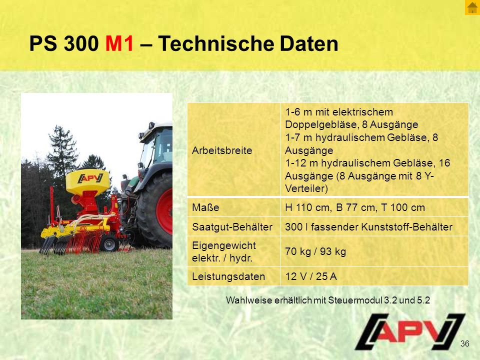 PS 300 M1 – Technische Daten Arbeitsbreite