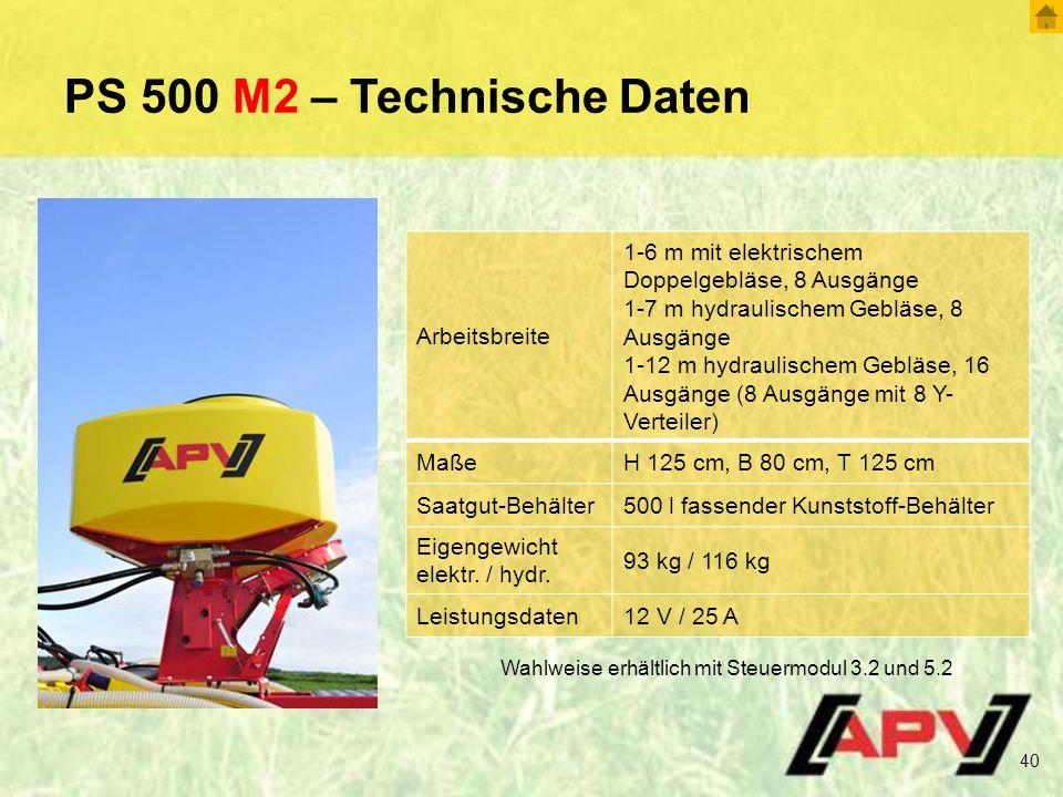 PS 500 M2 – Technische Daten Arbeitsbreite