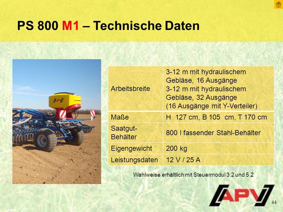 PS 800 M1 – Technische Daten Arbeitsbreite