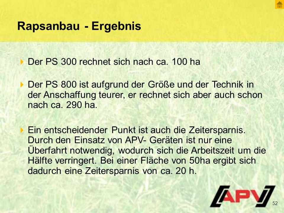 Rapsanbau - Ergebnis Der PS 300 rechnet sich nach ca. 100 ha