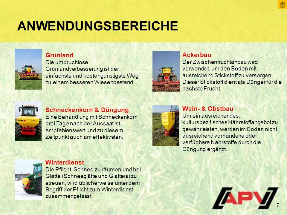ANWENDUNGSBEREICHE Grünland Ackerbau Wein- & Obstbau