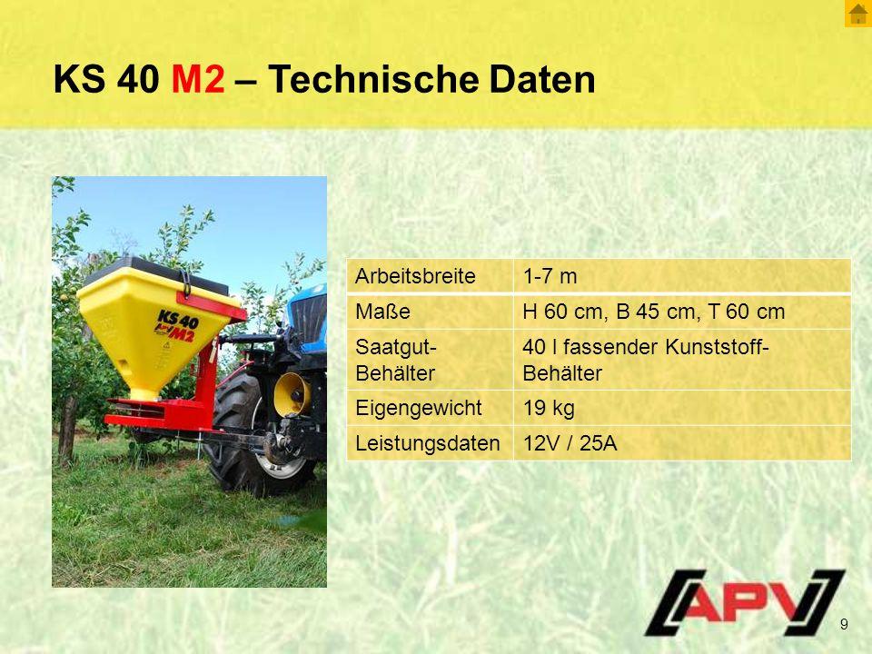 KS 40 M2 – Technische Daten Arbeitsbreite 1-7 m Maße
