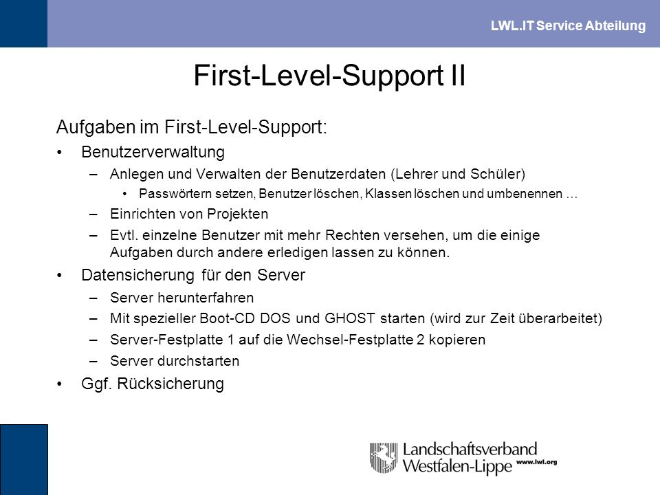 First-Level-Support II