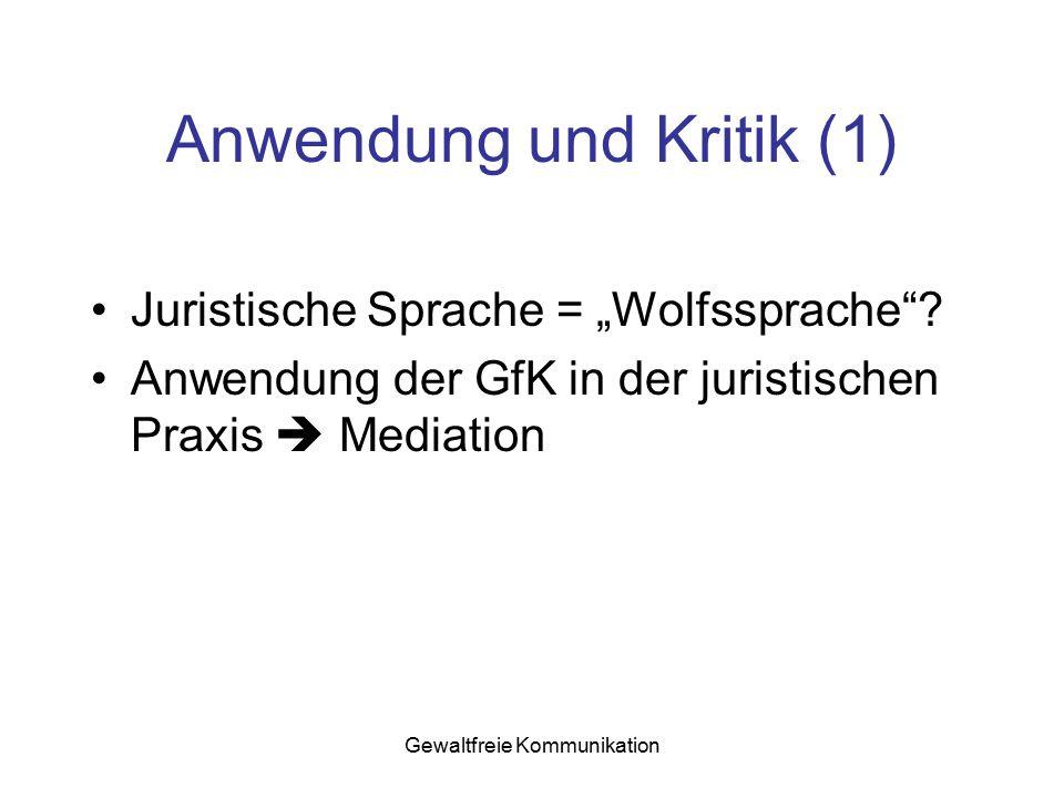 Anwendung und Kritik (1)