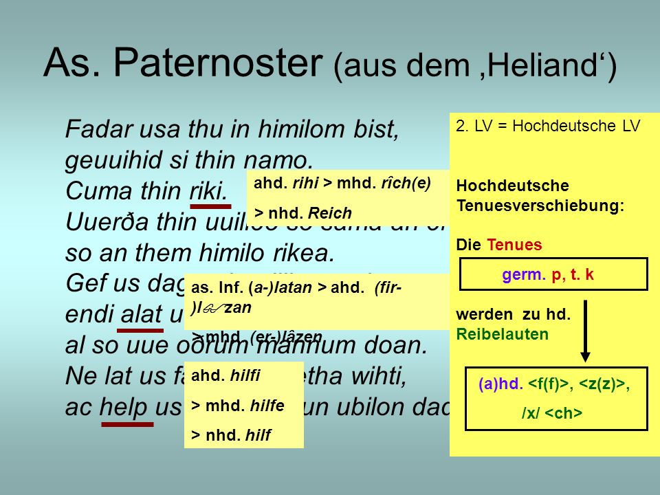 As. Paternoster (aus dem 'Heliand')