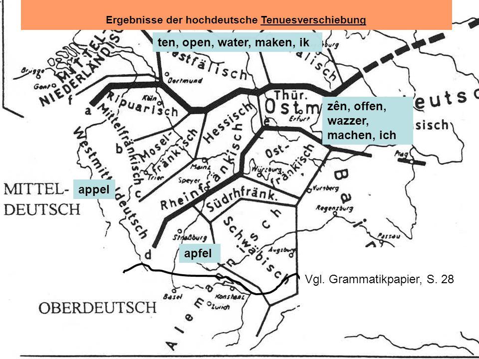 Ergebnisse der hochdeutsche Tenuesverschiebung