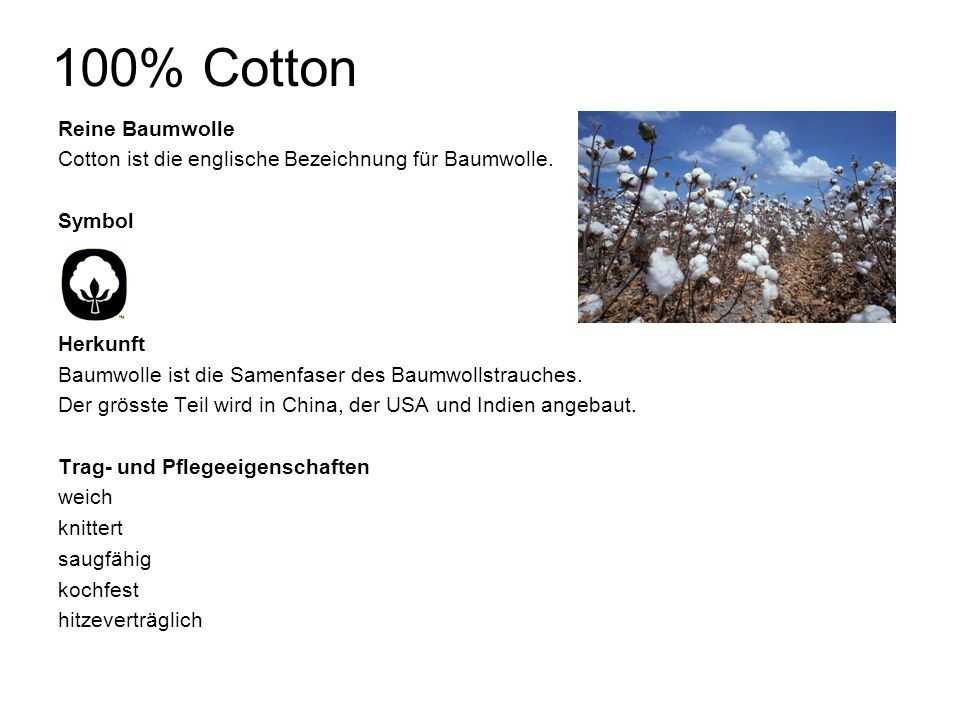 100% Cotton Reine Baumwolle