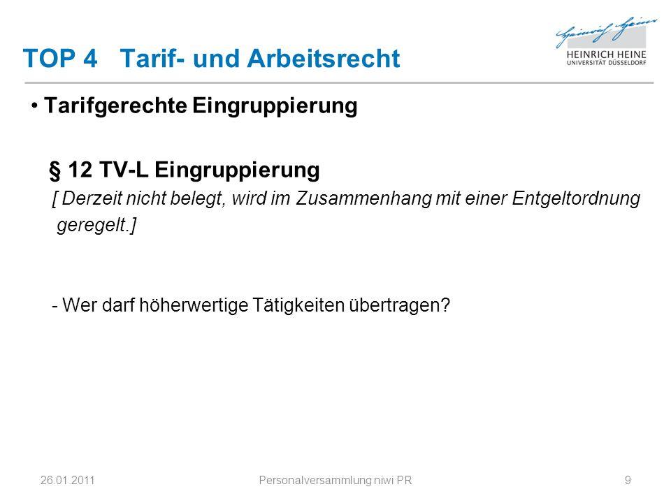 TOP 4 Tarif- und Arbeitsrecht