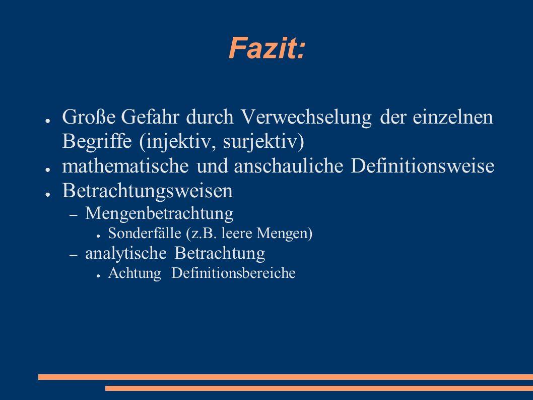 Fazit: Große Gefahr durch Verwechselung der einzelnen Begriffe (injektiv, surjektiv) mathematische und anschauliche Definitionsweise.
