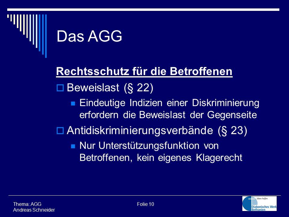 Das AGG Rechtsschutz für die Betroffenen Beweislast (§ 22)