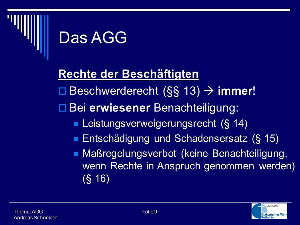 Das AGG Rechte der Beschäftigten Beschwerderecht (§§ 13)  immer!