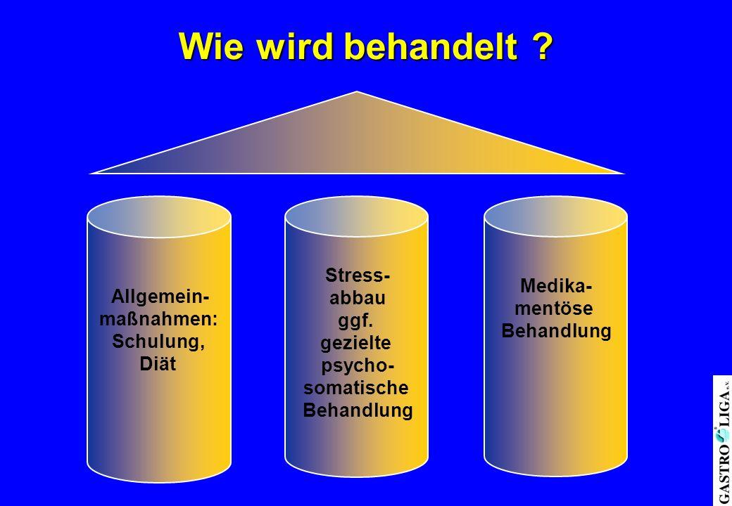 Wie wird behandelt Stress- abbau Medika- Allgemein- ggf. mentöse