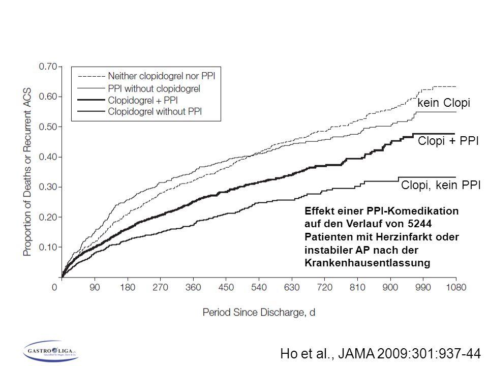 Ho et al., JAMA 2009:301:937-44 kein Clopi Clopi + PPI Clopi, kein PPI