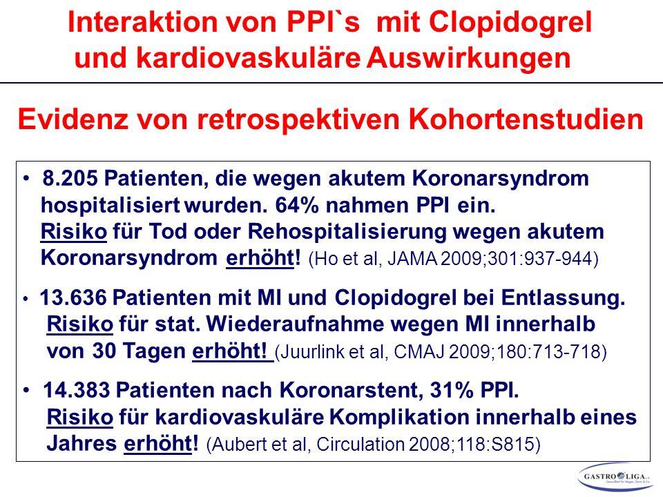 Interaktion von PPI`s mit Clopidogrel und kardiovaskuläre Auswirkungen