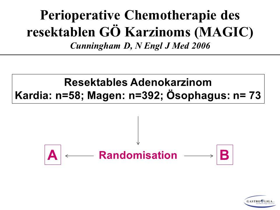 Resektables Adenokarzinom Kardia: n=58; Magen: n=392; Ösophagus: n= 73