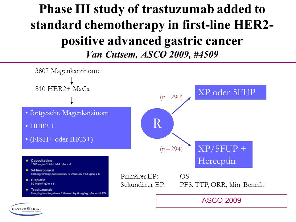 Phase III study of trastuzumab added to standard chemotherapy in first-line HER2-positive advanced gastric cancer Van Cutsem, ASCO 2009, #4509
