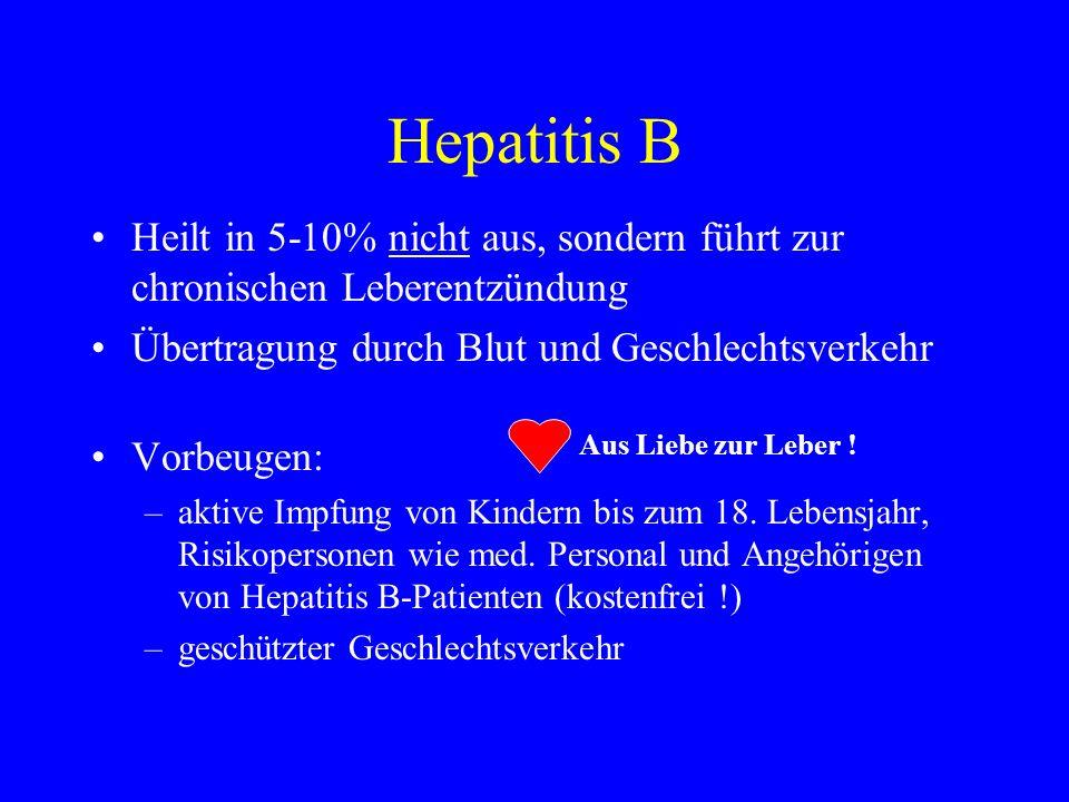 Hepatitis B Heilt in 5-10% nicht aus, sondern führt zur chronischen Leberentzündung. Übertragung durch Blut und Geschlechtsverkehr.