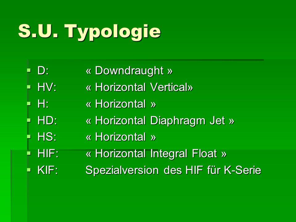 S.U. Typologie D: « Downdraught » HV: « Horizontal Vertical»