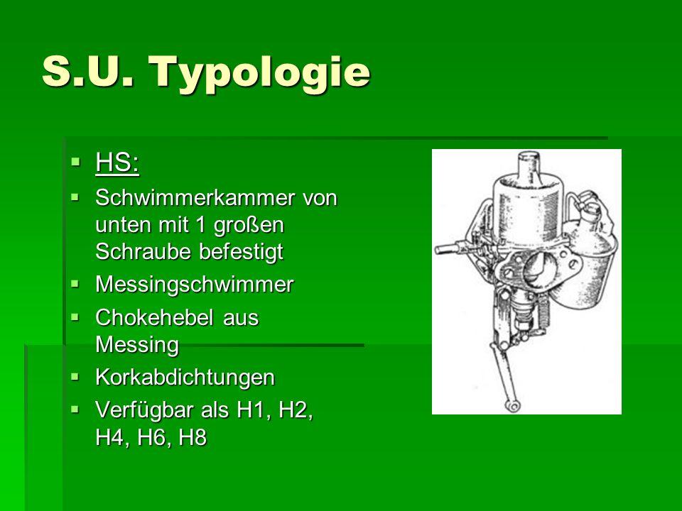 S.U. Typologie HS: Schwimmerkammer von unten mit 1 großen Schraube befestigt. Messingschwimmer. Chokehebel aus Messing.