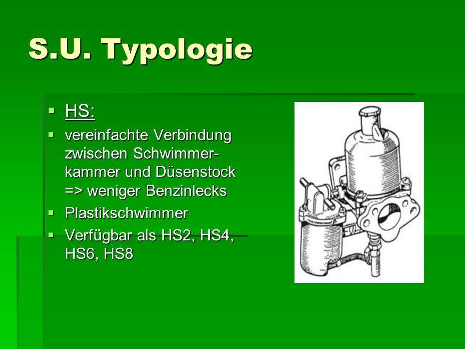 S.U. Typologie HS: vereinfachte Verbindung zwischen Schwimmer-kammer und Düsenstock => weniger Benzinlecks.
