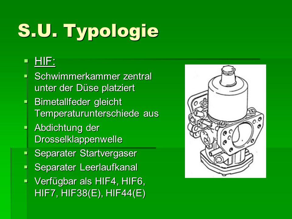 S.U. Typologie HIF: Schwimmerkammer zentral unter der Düse platziert