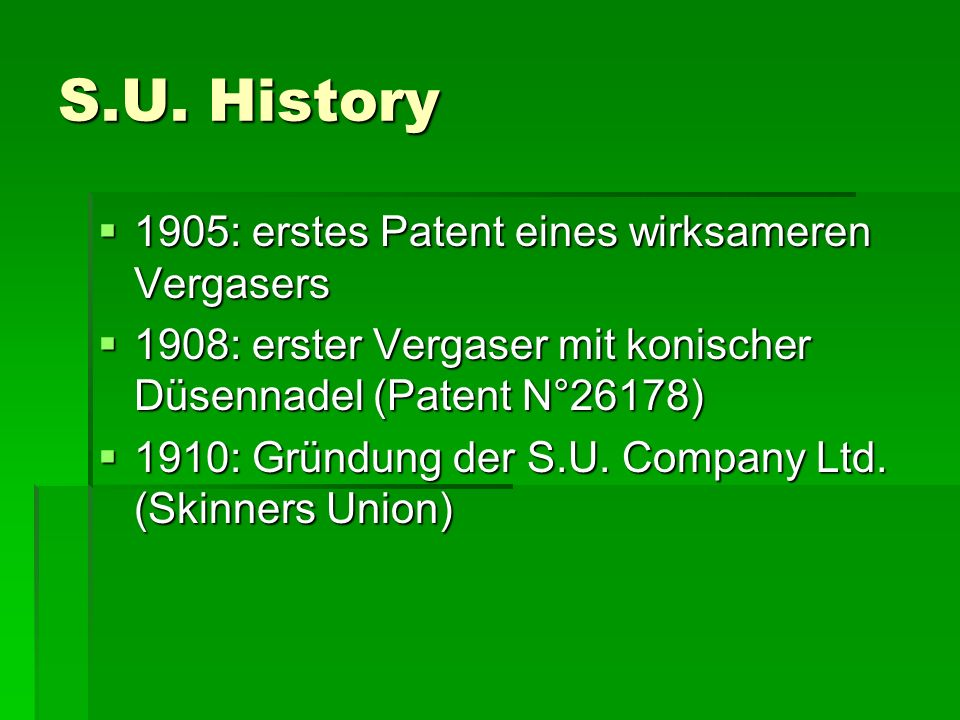 S.U. History 1905: erstes Patent eines wirksameren Vergasers