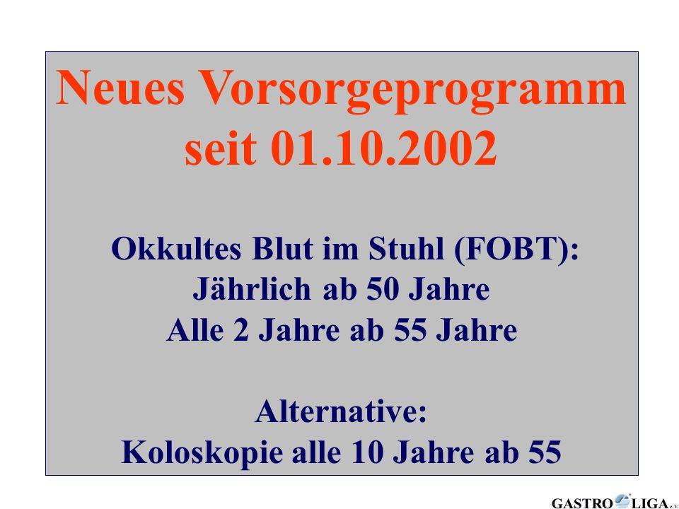 Neues Vorsorgeprogramm seit 01.10.2002
