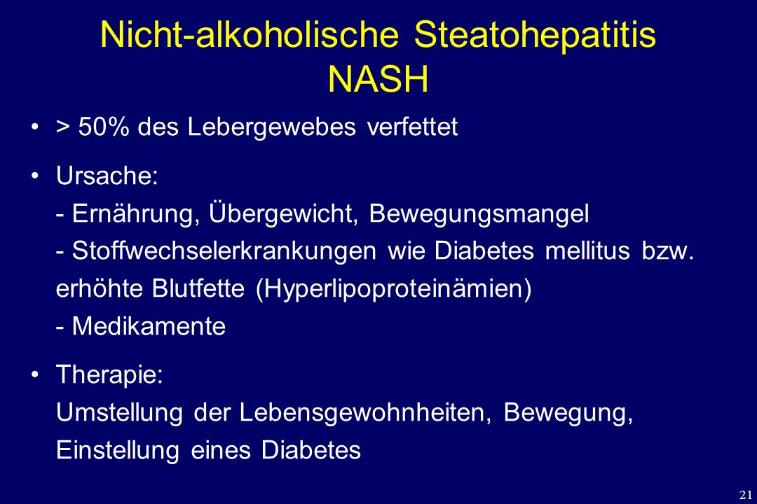 Nicht-alkoholische Steatohepatitis NASH