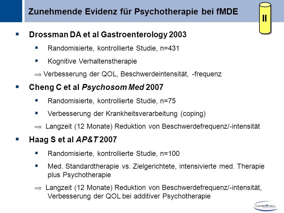 II Zunehmende Evidenz für Psychotherapie bei fMDE