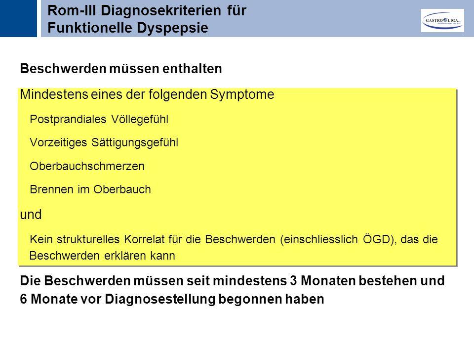 Rom-III Diagnosekriterien für Funktionelle Dyspepsie
