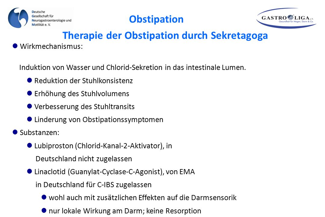 Therapie der Obstipation durch Sekretagoga