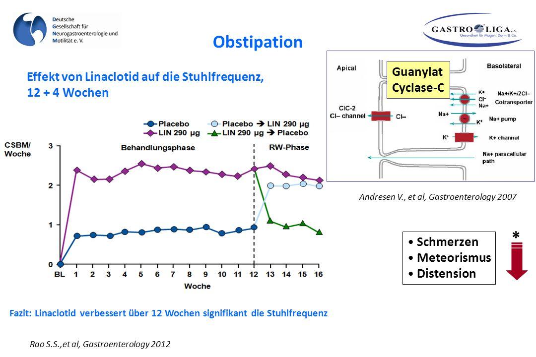 Obstipation * Guanylat Effekt von Linaclotid auf die Stuhlfrequenz,