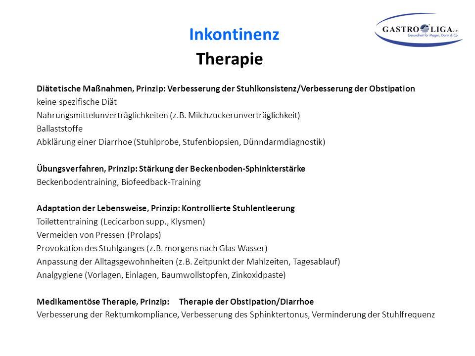 Inkontinenz Therapie. Diätetische Maßnahmen, Prinzip: Verbesserung der Stuhlkonsistenz/Verbesserung der Obstipation.
