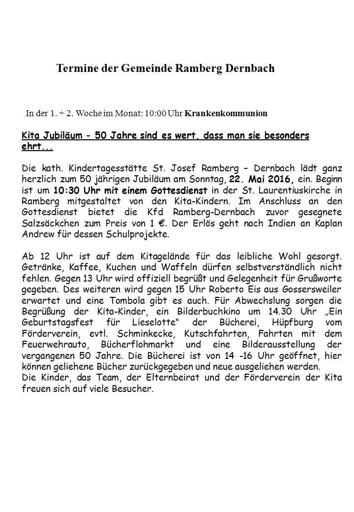 Termine der Gemeinde Ramberg Dernbach