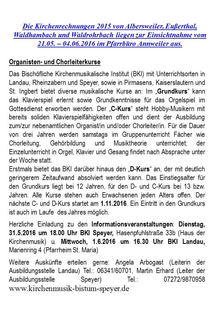 21.05. – 04.06.2016 im Pfarrbüro Annweiler aus.
